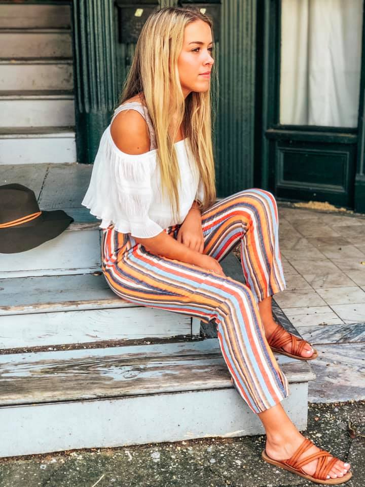 Yarn Dye Stripe Linen Pants
