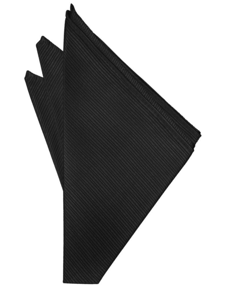 Black Faille Silk Pocket Square
