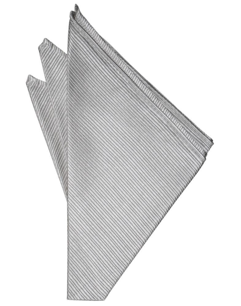 Silver Faille Silk Pocket Square