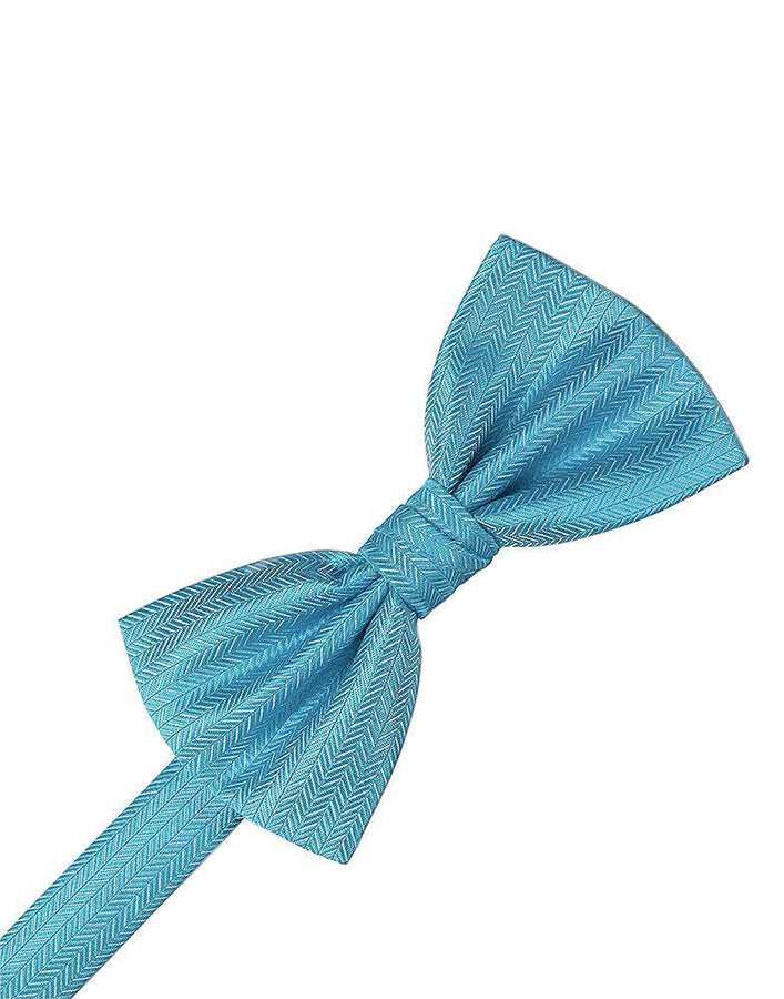 Blue Ice Herringbone Bow Tie
