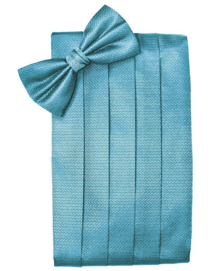 Blue Ice Herringbone Cummerbund