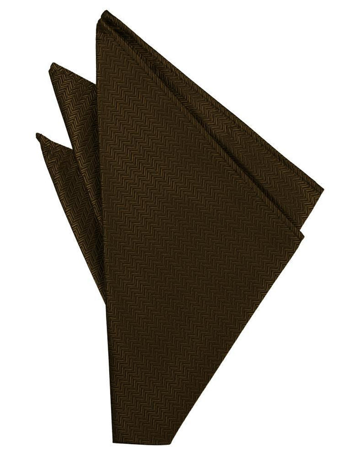 Chocolate Herringbone Pocket Square