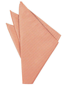Coral Herringbone Pocket Square