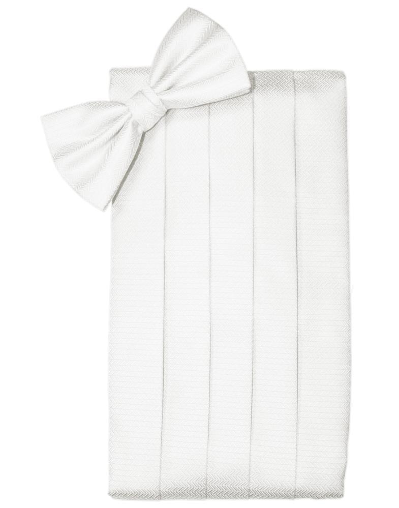 Diamond White Herringbone Cummerbund