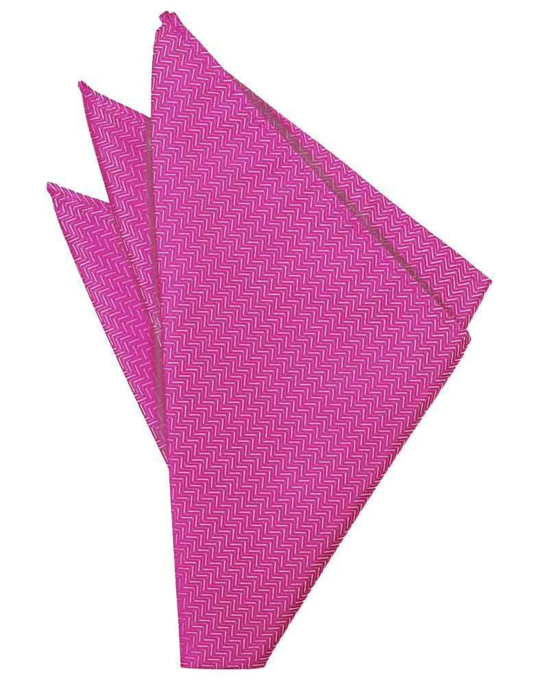 Fuchsia Herringbone Pocket Square
