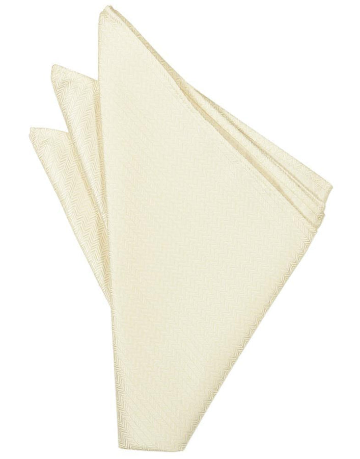 Ivory Herringbone Pocket Square