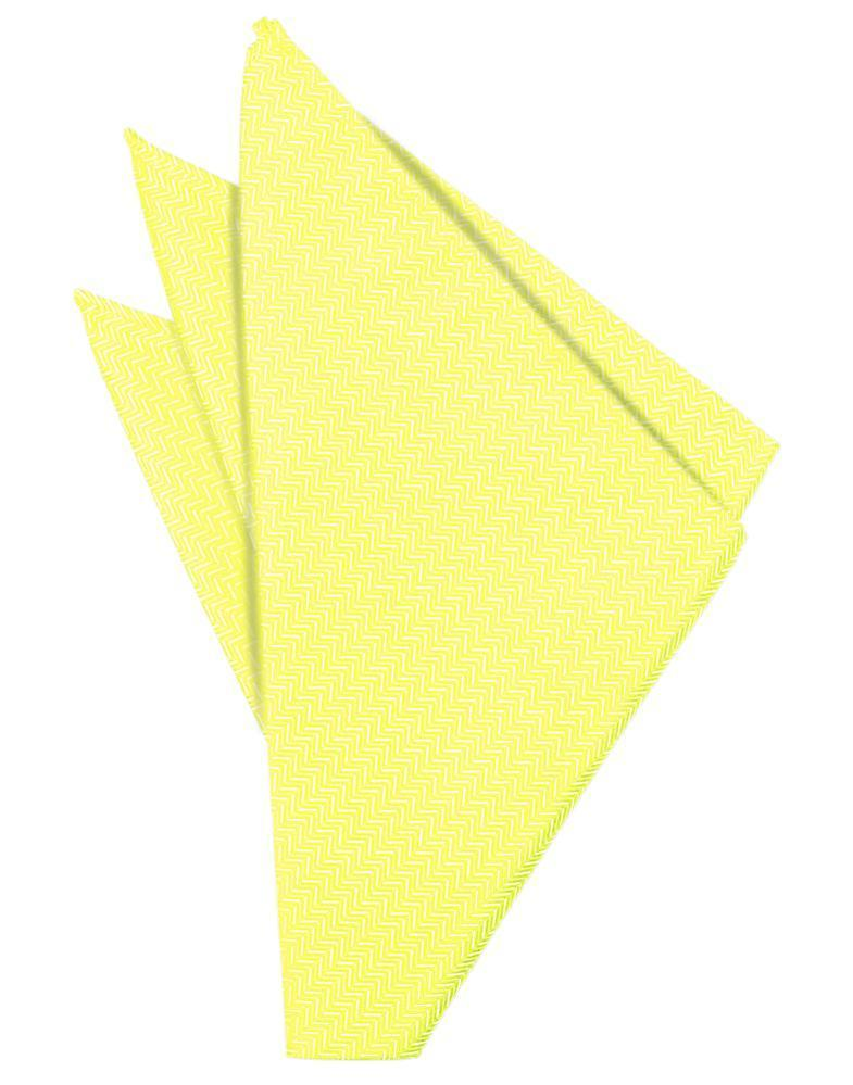 Lemon Herringbone Pocket Square