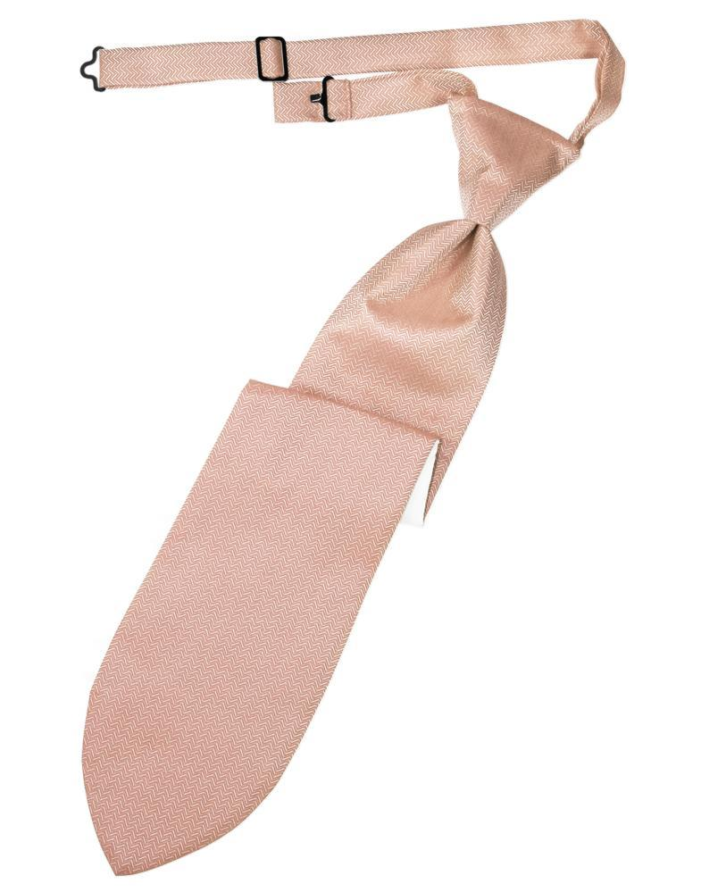 Peach Herringbone Kids Necktie