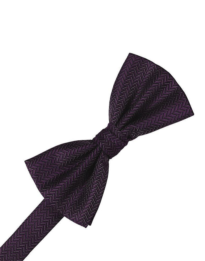 Plum Herringbone Kids Bow Tie