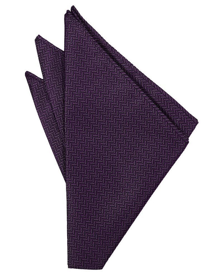 Plum Herringbone Pocket Square