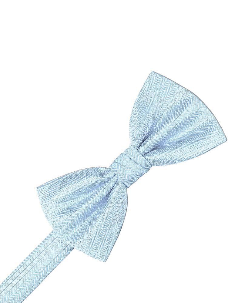 Powder Blue Herringbone Kids Bow Tie