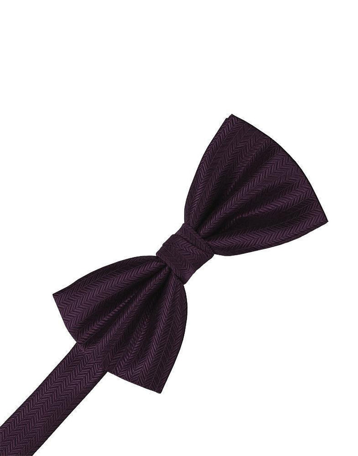 Raisin Herringbone Bow Tie