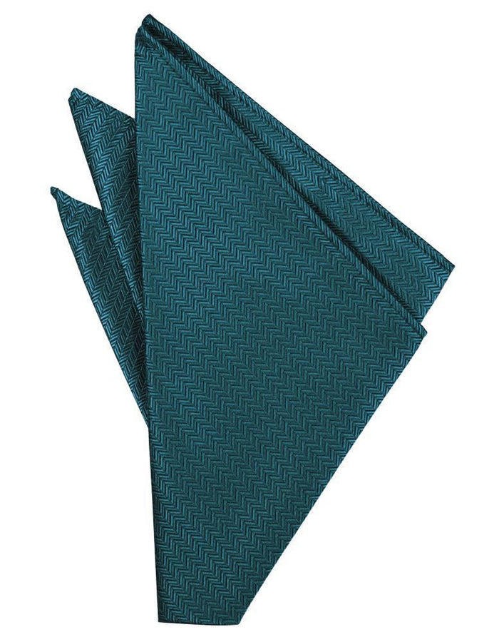 Teal Herringbone Pocket Square