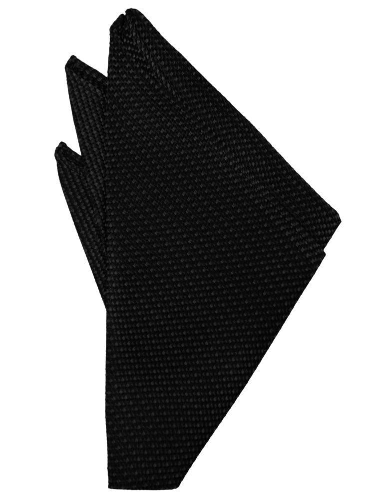 Black Silk Weave Pocket Square