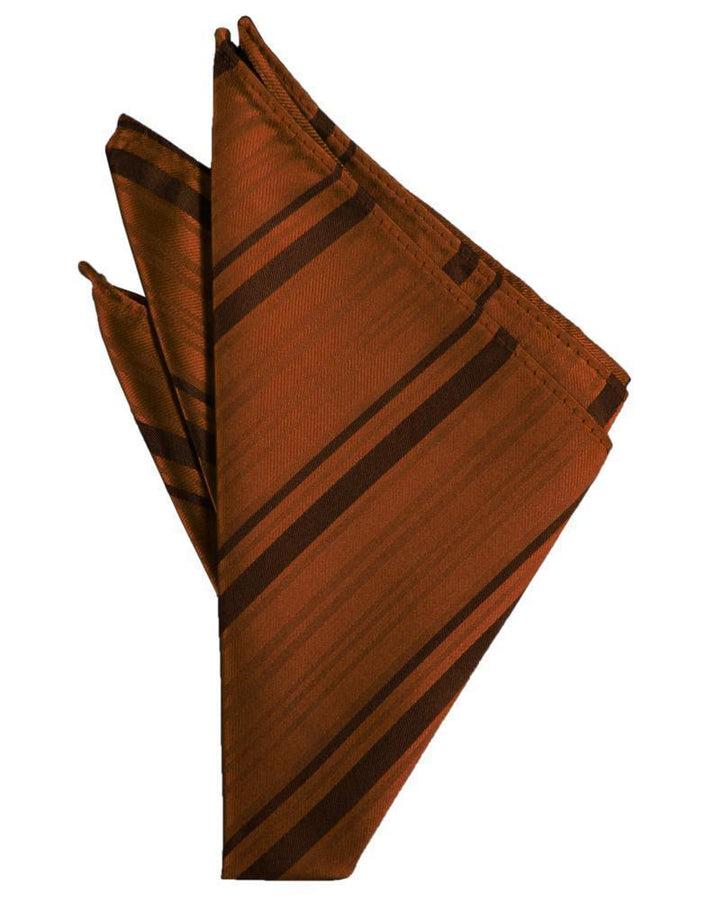 Cognac Striped Satin Pocket Square