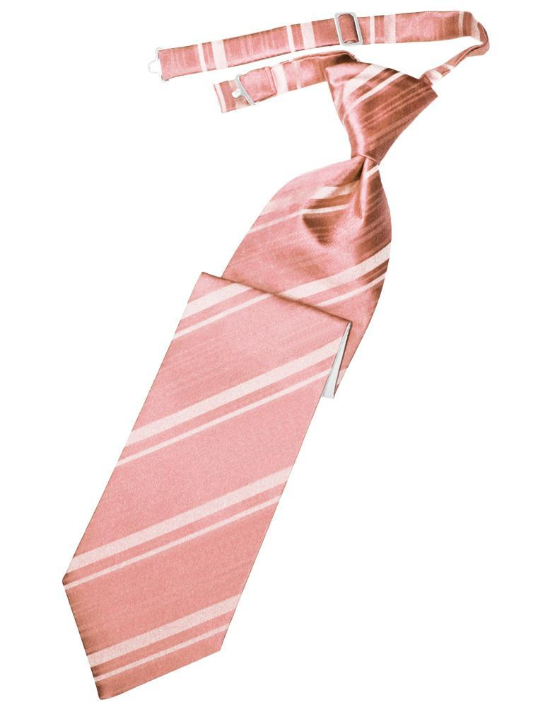 Coral Striped Satin Kids Necktie