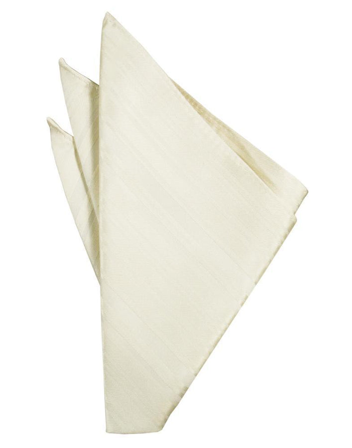 Ivory Striped Satin Pocket Square