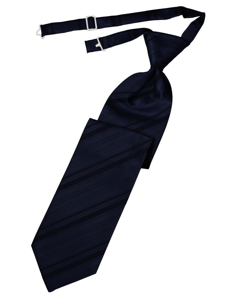Midnight Blue Striped Satin Kids Necktie