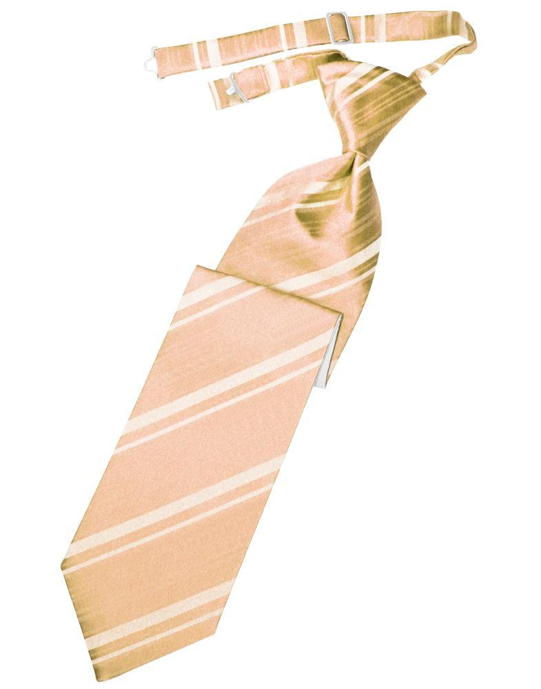 Peach Striped Satin Kids Necktie