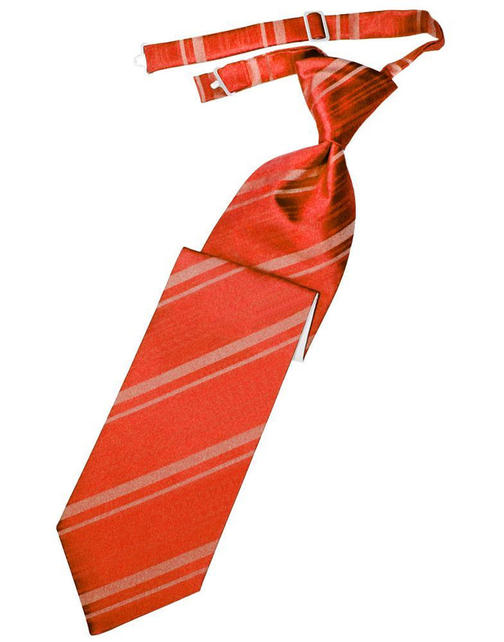 Persimmon Striped Satin Kids Necktie