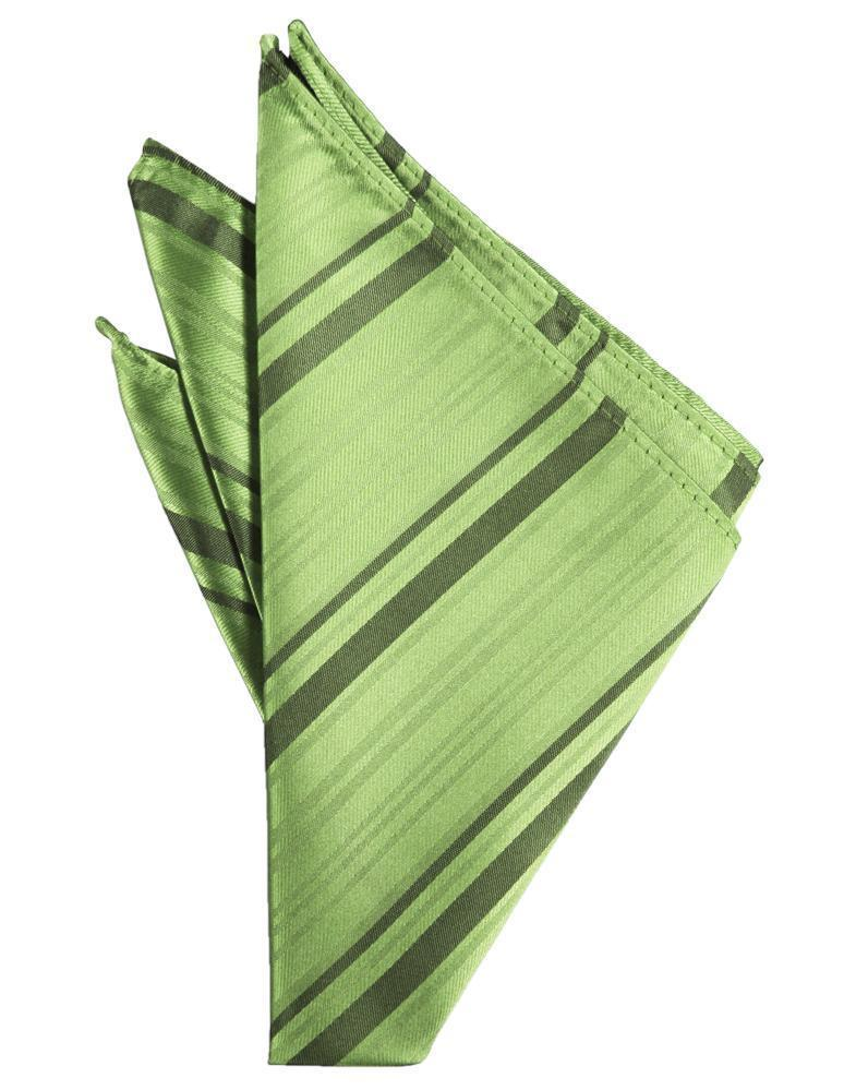 Sage Striped Satin Pocket Square