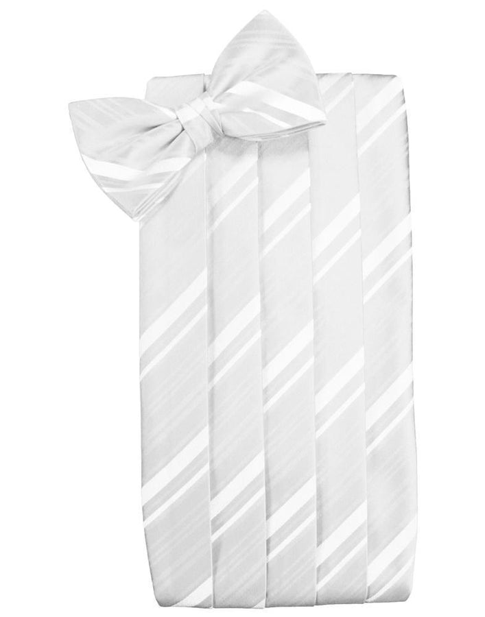 White Kids Striped Satin Cummerbund