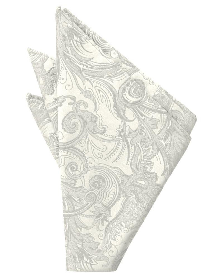 Ivory Paisley Silk Pocket Square