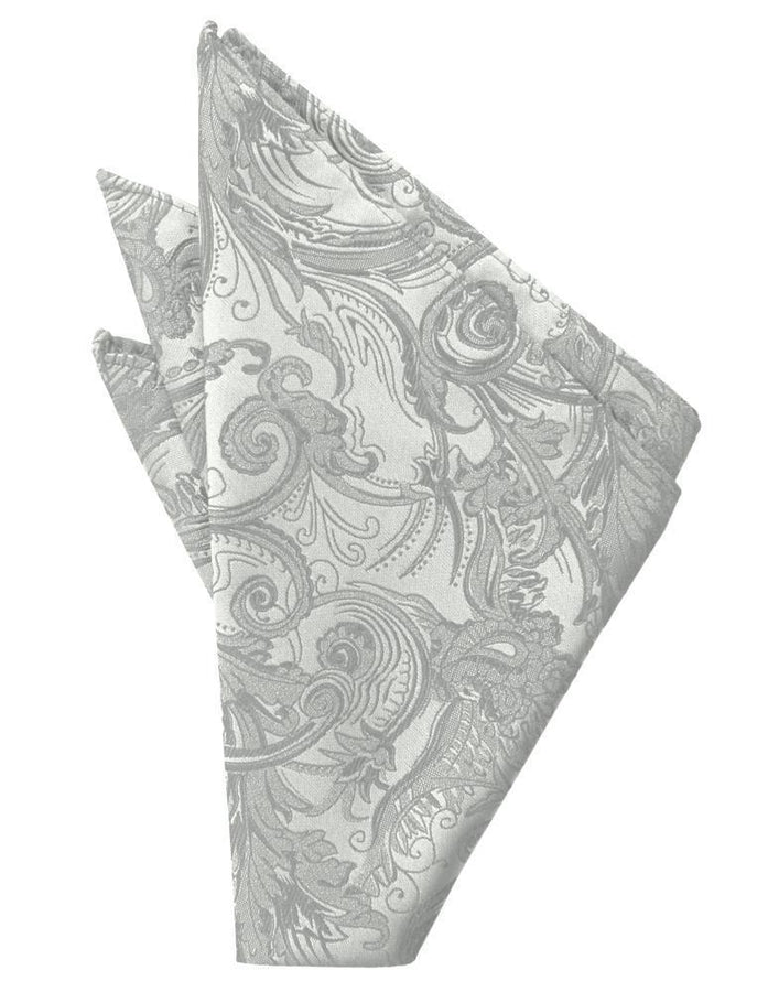 Platinum Paisley Silk Pocket Square