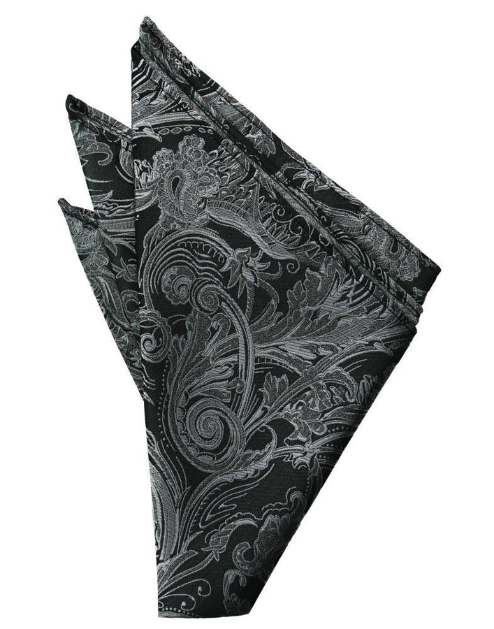 Silver Paisley Silk Pocket Square