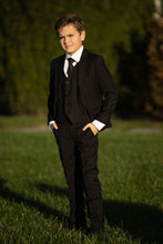 "Load image into Gallery viewer, ""Premium"" Kids Black 5-Piece Wool Blend Suit"