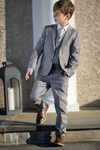 "Load image into Gallery viewer, ""Premium"" Kids Heather Grey 5-Piece Wool Blend Suit"