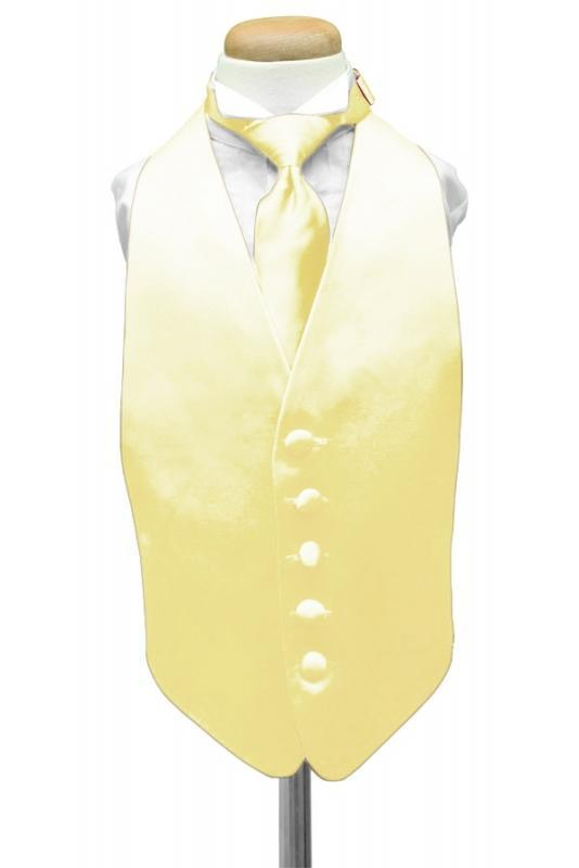 Canary Luxury Satin Kids Tuxedo Vest
