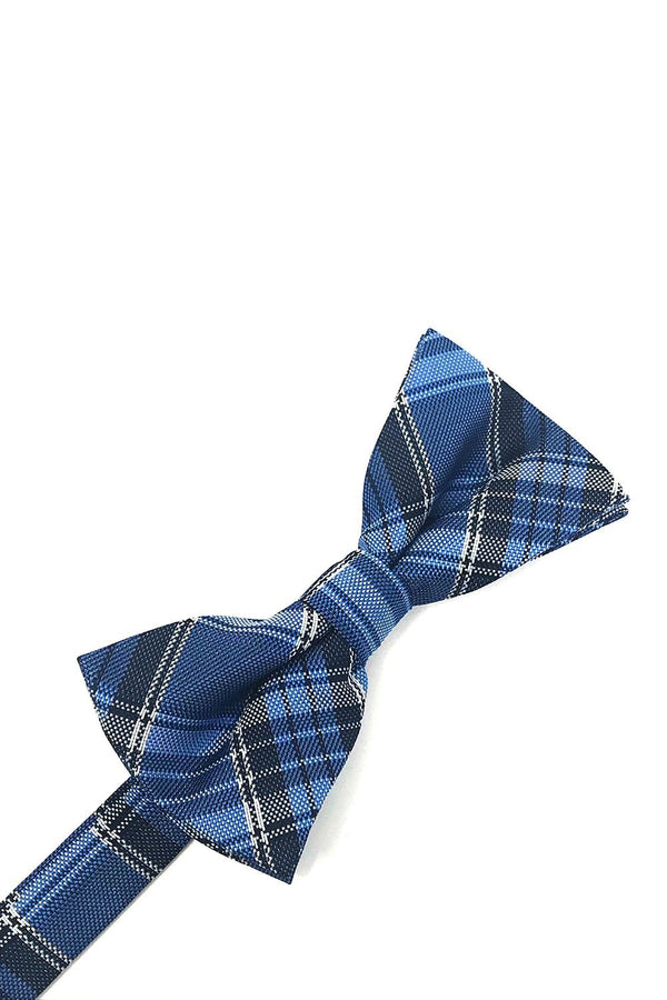 Blue Madison Plaid Kids Bow Tie