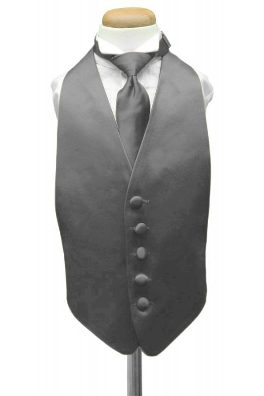 Charcoal Luxury Satin Kids Tuxedo Vest