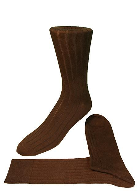 Chocolate Ribbed Kids Formal Socks