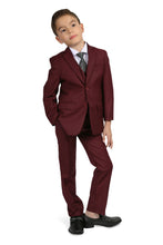 "Load image into Gallery viewer, ""Jax"" Kids Burgundy Suit 5-Piece Set"