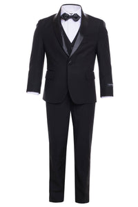 """Reno"" Kids Black Tuxedo 5-Piece Set"