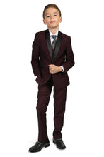 "Load image into Gallery viewer, ""Reno JR"" Kids Burgundy Tuxedo 5-Piece Set"