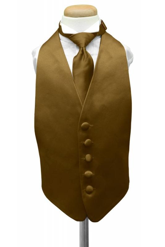 Gold Luxury Satin Kids Tuxedo Vest