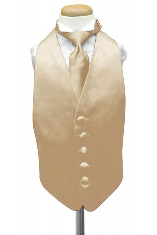 Golden Luxury Satin Kids Tuxedo Vest