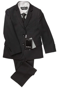 """Premium"" Kids Black 5-Piece Wool Blend Suit"
