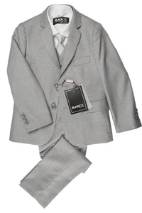 """Premium"" Kids Heather Grey 5-Piece Wool Blend Suit"