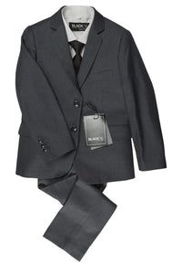 """Premium"" Kids Steel Grey 5-Piece Wool Blend Suit"