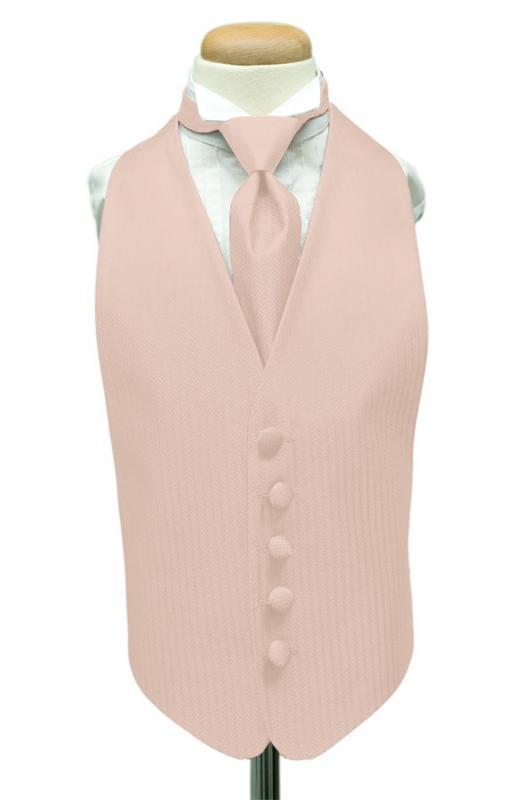Light Pink Herringbone Kids Tuxedo Vest