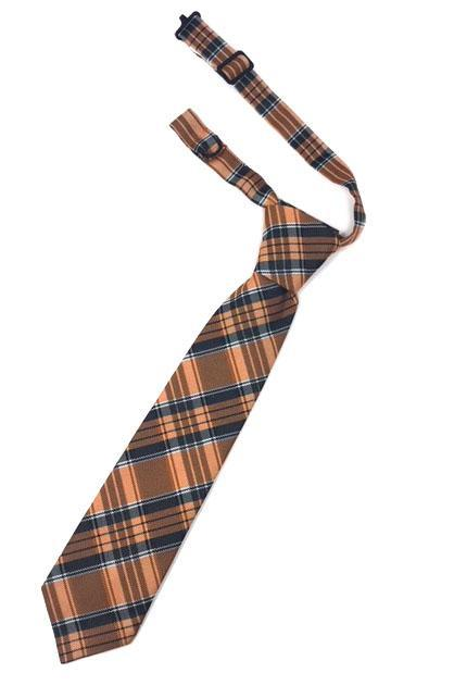 Orange Madison Plaid Kids Necktie