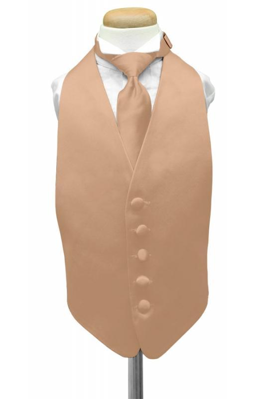 Peach Luxury Satin Kids Tuxedo Vest