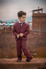 "Load image into Gallery viewer, ""Joey"" Kids Burgundy Suit 5-Piece Set"