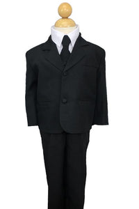 """Joey"" Kids Black Suit 5-Piece Set"