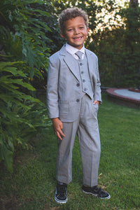 """Safari"" Kids Linen Heather Grey Suit 5-Piece Set"