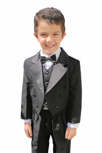 """Sammi"" Kids Black Tailcoat Tuxedo 5-Piece Set"
